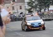 CLUJ-NAPOCA, ROMANIA - JUNE 22: Unidentified competitor during Rally of Romania 2012 championship on