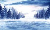 Dark Winter Forest Background At Night. Snow, Fog, Moonlight. Dark Neon Night Background In The Fore poster