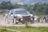 CLUJ-NAPOCA, ROMANIA - JUNE 23: Unidentified competitor during Rally of Romania 2012 championship on