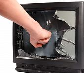 Man's Hand Crush Television Screen