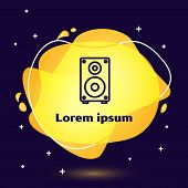 Black Line Stereo Speaker Icon Isolated On Blue Background. Sound System Speakers. Music Icon. Music poster