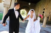 image of special occasion  - A beautiful bride and groom at church wedding - JPG