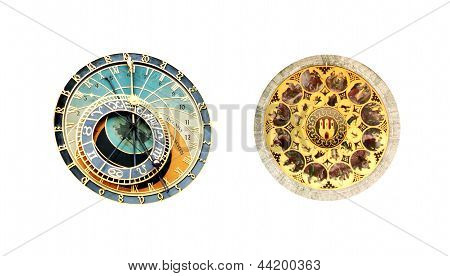 Astronomical Clock At The Old Town Square In Prague - Isolated On White