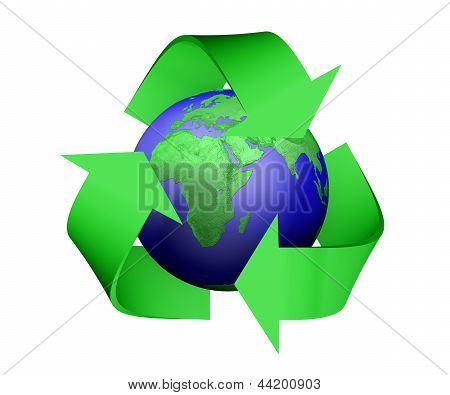 Recycle Icon Covering Earth