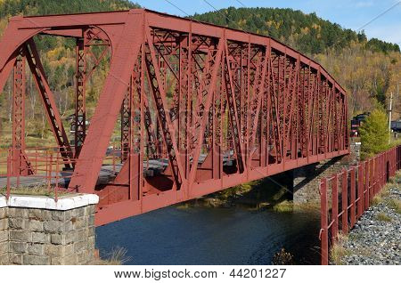 Metal bridge over the river - the former part of old Circum-Baikal Railway