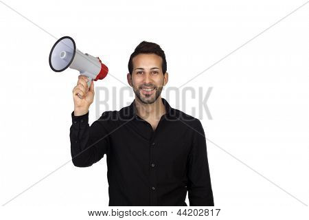 Young businessman with a Megaphone proclaiming something isolated on white background