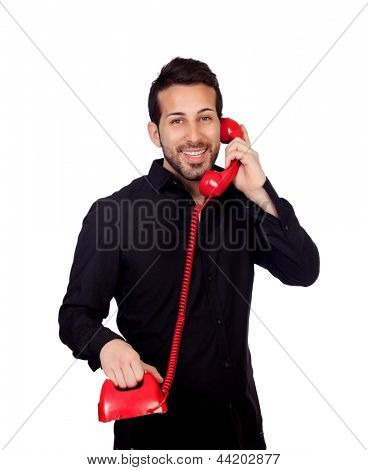 Young bearded businessman at phone isolated on white background