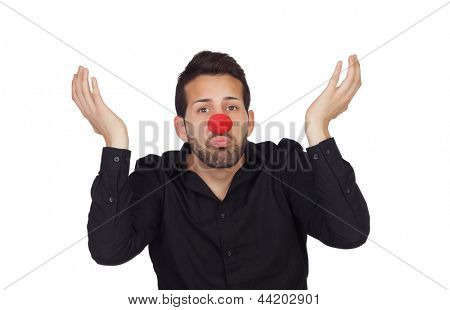 Ignorant businessman with clown nose isolated on white background