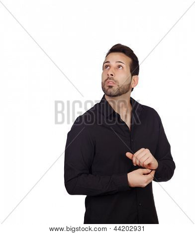 Young bearded businessman buttoning his shirt button isolated on white background