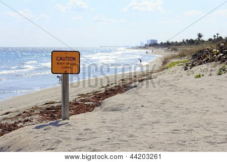 Caution Sign On Dania Beach