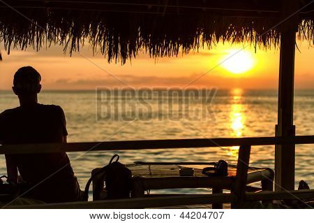 Silhouette Of A Man Looking Out Of The Arbor At The Yellow Sunset