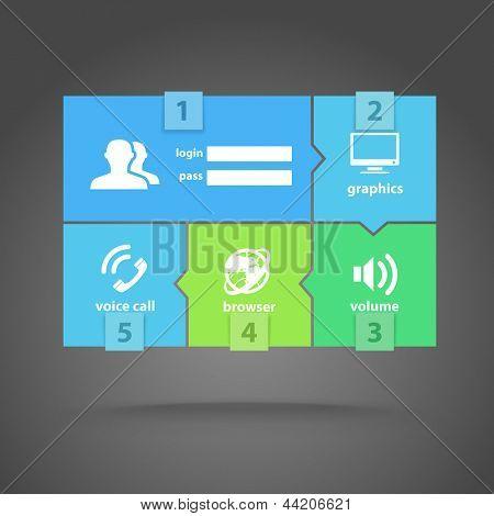 Webvorlage Farbe Ziegel-Schnittstelle mit modernen Symbolen
