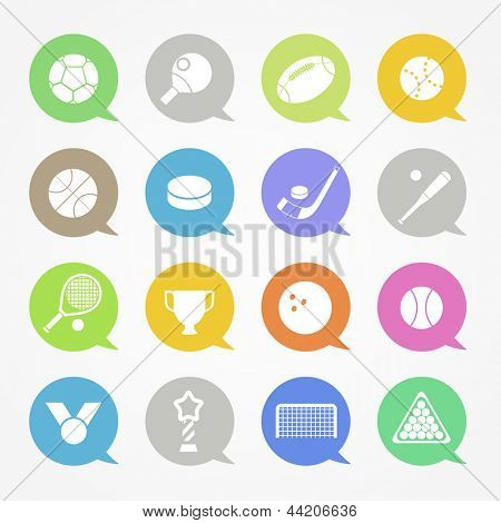 Sports web icons set in color speech clouds