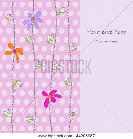 Cute Background With Flowers And Polka Dots