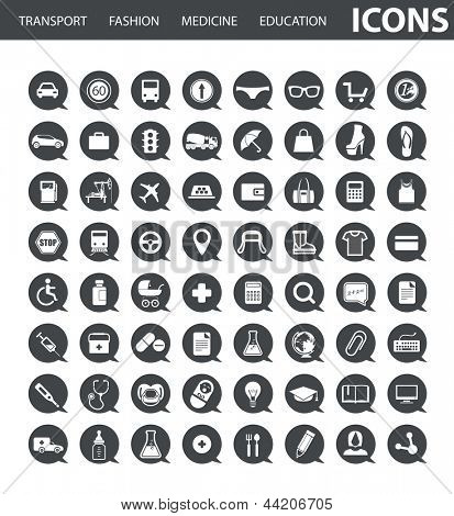 Set of web icons in speech clouds