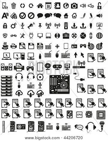 Conjunto de iconos de hardware y equipos.