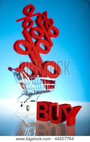 Shopping supermarket cart, percent sign