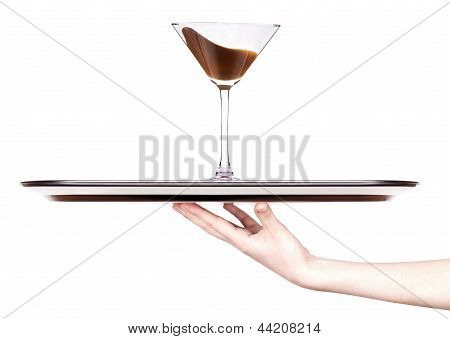 Chocolate Cocktail With Splash On A Tray With Hand