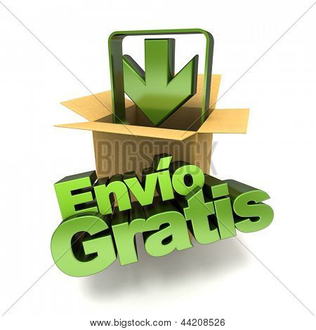 3D rendering of a free shipping concept banner in Spanish, env�?�?�?�­o gratis