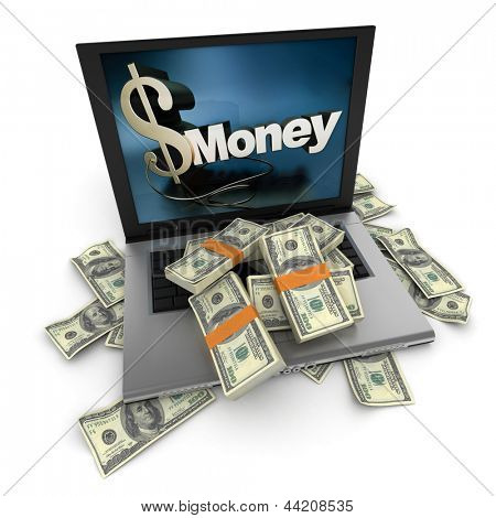 A portable computer with  money written on the screen, with the keyboard cover in hundred dollar bills