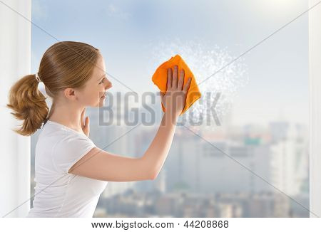 Happy Girl Housewife Washes A Window