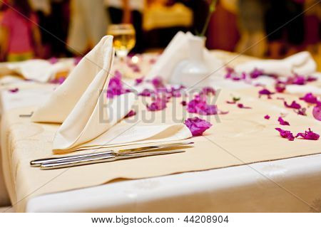 Table setting at a restaurant for the holiday dinner