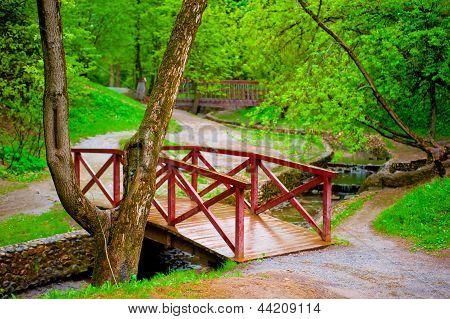 Wooden bridge in green leafy park across the rivulet