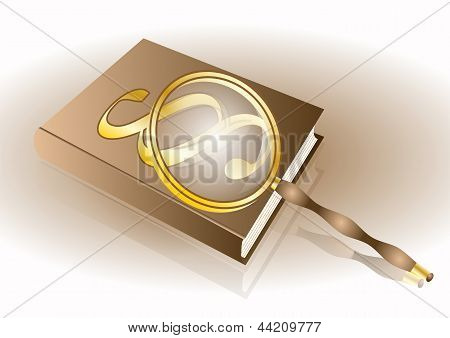 Book With Paragraph And Magnifier