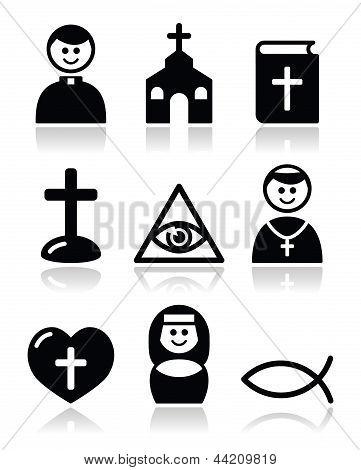 Religion, catholic church vector icons set