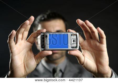 Businessman Taking Photos, Mobile Camera