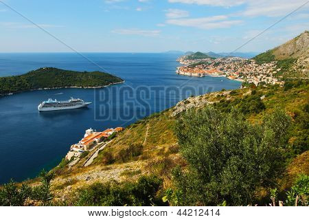 Scenic View Of Dubrovnik Coast With Cruze Ship