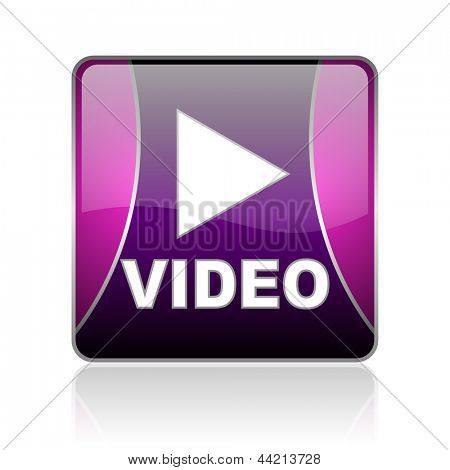 black and violet square glossy internet icon on white background with reflaction