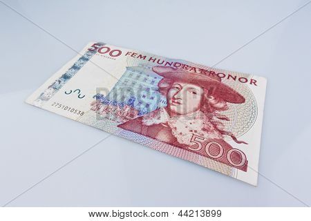 swedish krona, the currency of sweden. with strong perspective.
