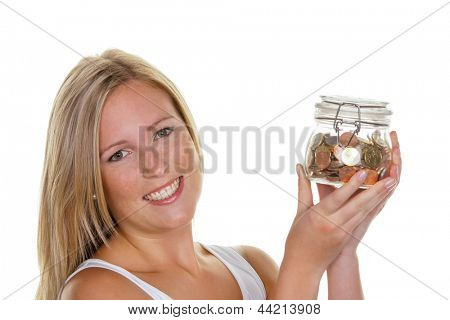 a young woman saves money and coins for the future. preparedness and save.
