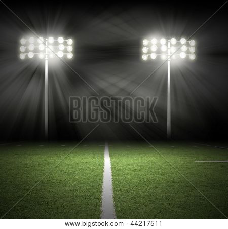 Stadium Game Night Lights On Black