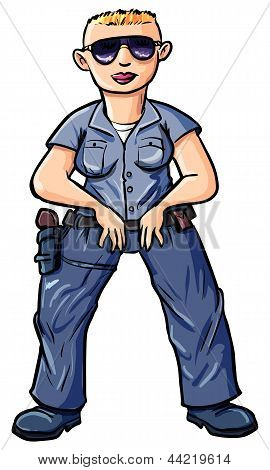 Cartoon policewoman with a blond buss-cut.