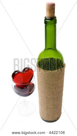 Glassy Heart In A Glass Of Wine And The Bottle 2