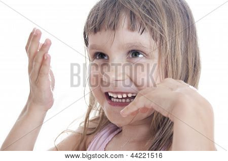 child with wet face