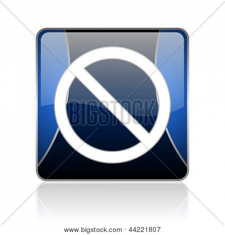 black and blue square glossy internet icon on white background with reflaction