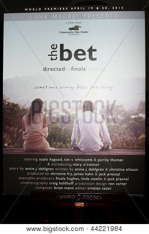 "LOS ANGELES - APR 4:  ""The Bet"" Poster at the gala fundraiser for the romantic comedy, ""The Bet"" at the Bacara Resort on April 4, 2013 in Santa Barbara, CA"