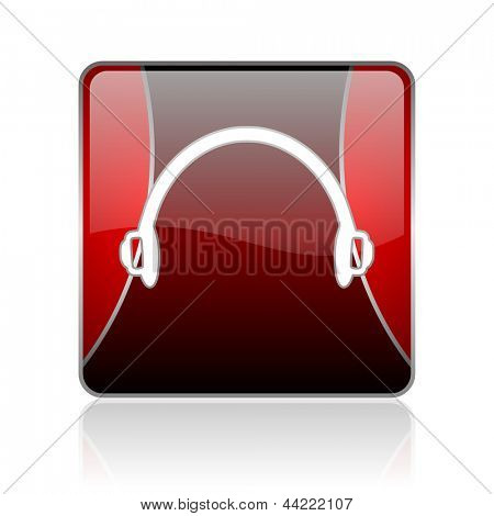 black and red square glossy internet icon on white background with reflaction