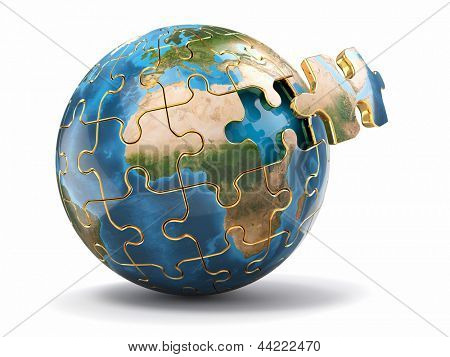 Concept of Globalization. Earth puzzle on white background. 3d Elements of this image furnished by NASA