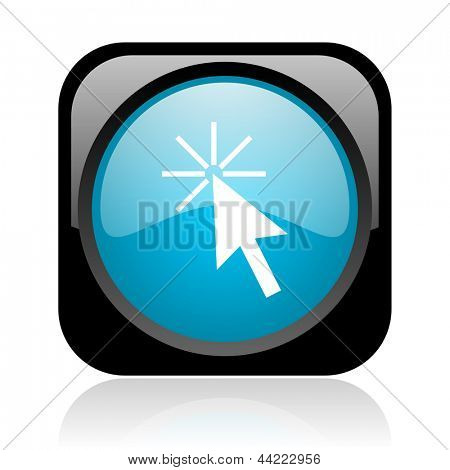 click here black and blue square web glossy icon