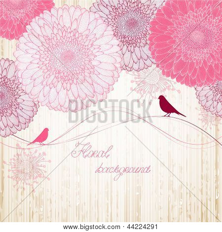 Hand-drawing floral background with flower gerbera and with bird.