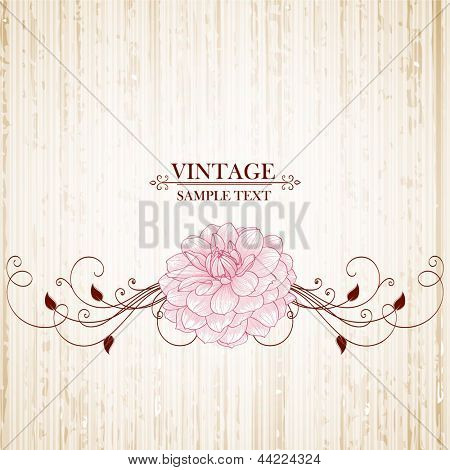Vintage floral background with flowers dahlia. Element for design.