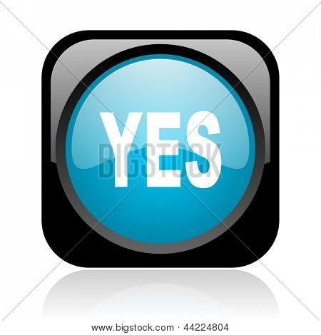 yes black and blue square web glossy icon