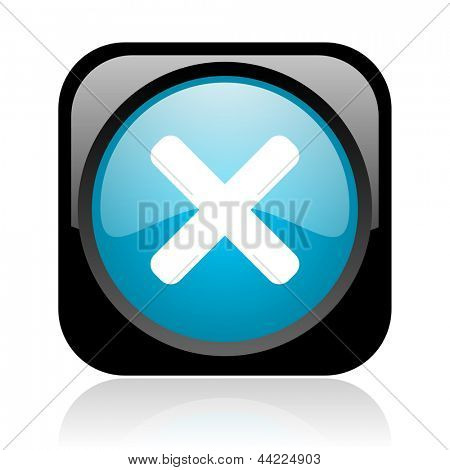 cancel black and blue square web glossy icon