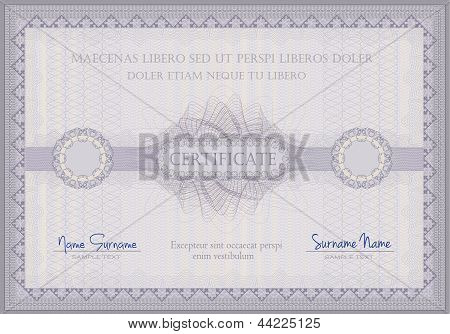 raster Certificate violet guilloche voucher template horizontal A4 format