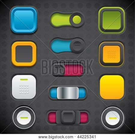 Modern UI button set including switches and push buttons in dark color variations