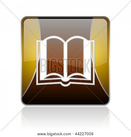 ícone de web quadrado brilhante dourada sobre fundo branco com reflexão